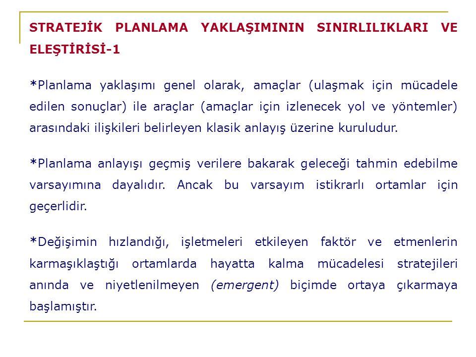 STRATEJİK PLANLAMA YAKLAŞIMININ SINIRLILIKLARI VE ELEŞTİRİSİ-1