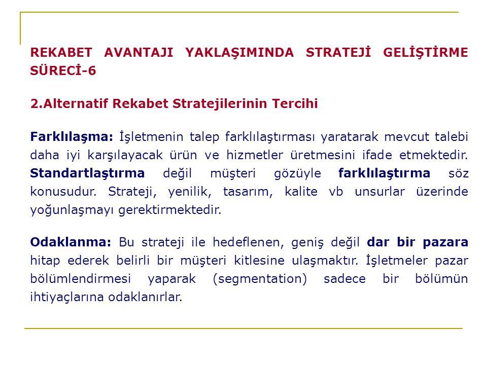 REKABET AVANTAJI YAKLAŞIMINDA STRATEJİ GELİŞTİRME SÜRECİ-6