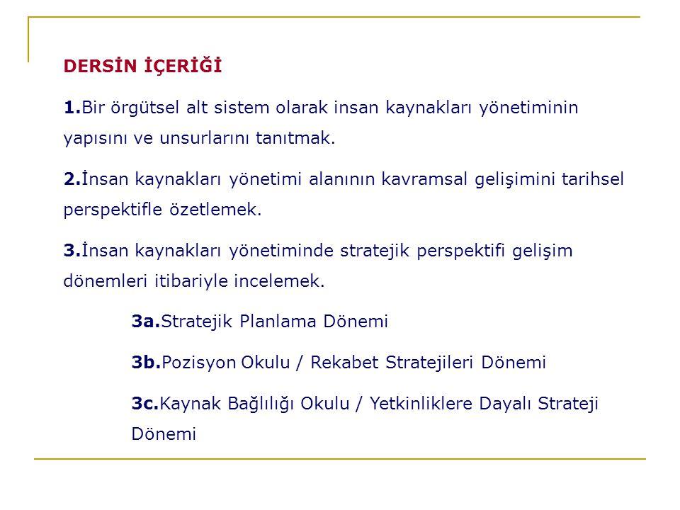 DERSİN İÇERİĞİ 1.Bir örgütsel alt sistem olarak insan kaynakları yönetiminin yapısını ve unsurlarını tanıtmak.