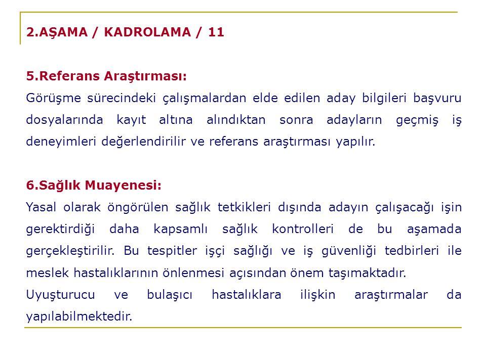 2.AŞAMA / KADROLAMA / 11 5.Referans Araştırması: