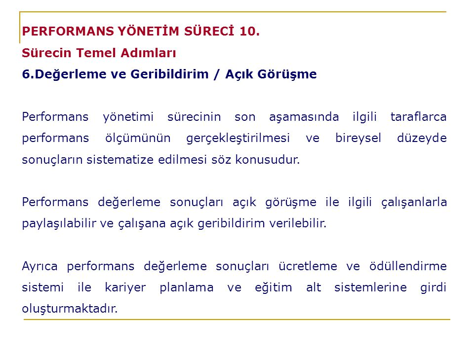 PERFORMANS YÖNETİM SÜRECİ 10.