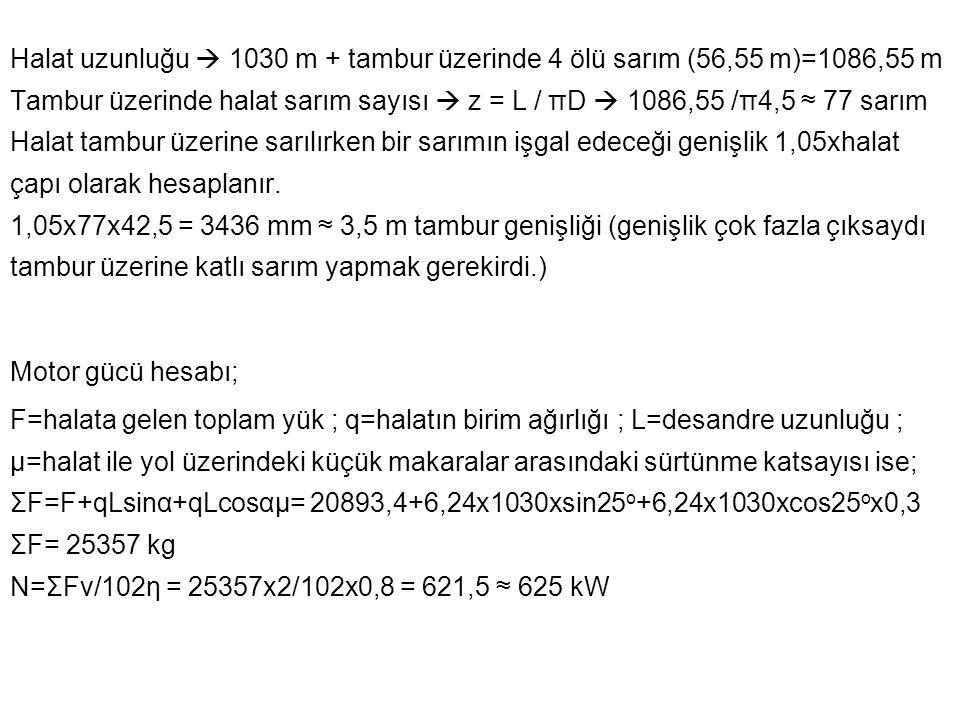 Halat uzunluğu  1030 m + tambur üzerinde 4 ölü sarım (56,55 m)=1086,55 m Tambur üzerinde halat sarım sayısı  z = L / πD  1086,55 /π4,5 ≈ 77 sarım Halat tambur üzerine sarılırken bir sarımın işgal edeceği genişlik 1,05xhalat çapı olarak hesaplanır. 1,05x77x42,5 = 3436 mm ≈ 3,5 m tambur genişliği (genişlik çok fazla çıksaydı tambur üzerine katlı sarım yapmak gerekirdi.)
