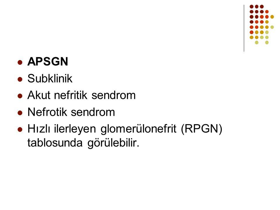 APSGN Subklinik. Akut nefritik sendrom. Nefrotik sendrom.