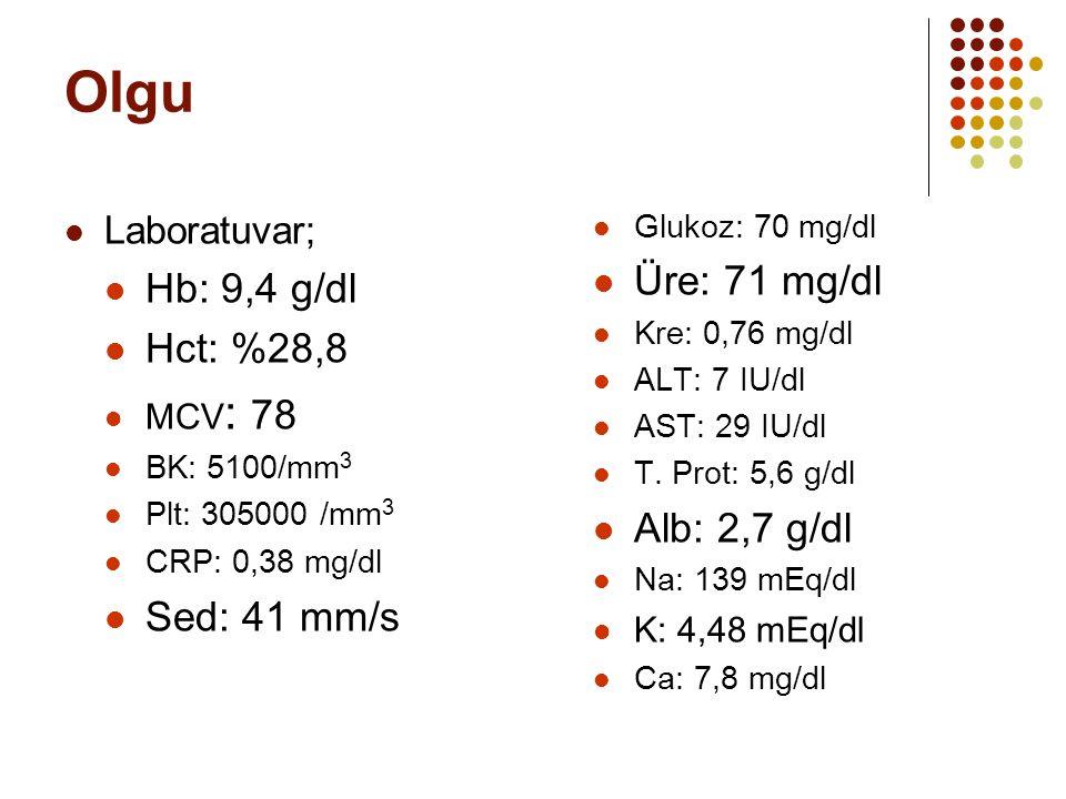 Olgu Üre: 71 mg/dl Hb: 9,4 g/dl Hct: %28,8 Alb: 2,7 g/dl Sed: 41 mm/s
