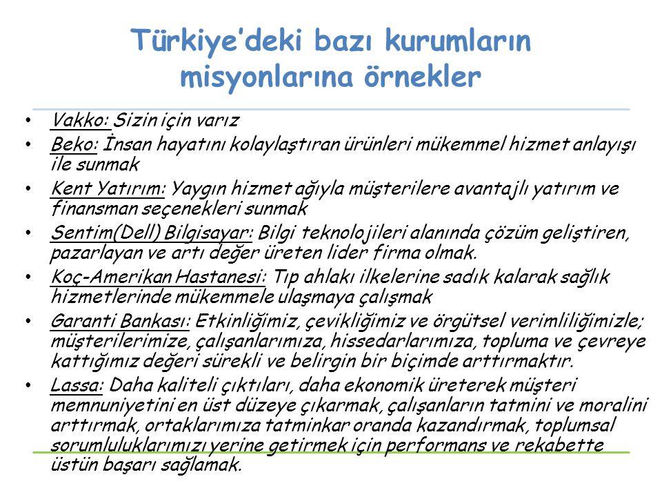 Türkiye'deki bazı kurumların misyonlarına örnekler