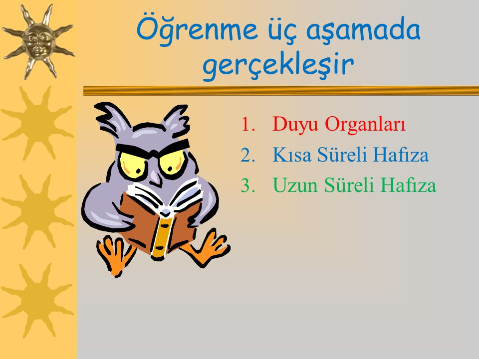 Öğrenme üç aşamada gerçekleşir