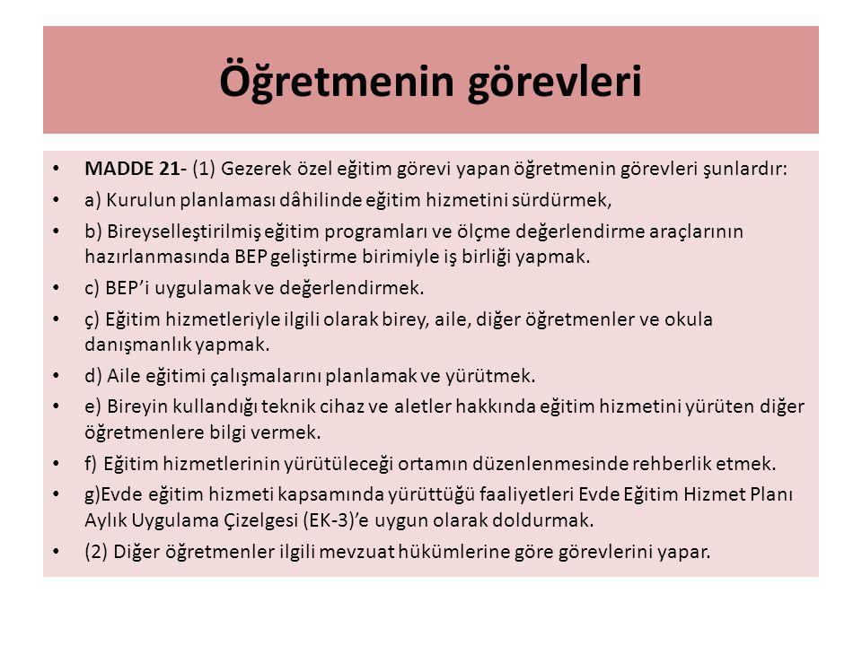 Öğretmenin görevleri MADDE 21- (1) Gezerek özel eğitim görevi yapan öğretmenin görevleri şunlardır: