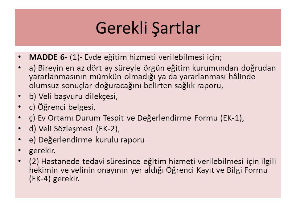 Gerekli Şartlar MADDE 6- (1)- Evde eğitim hizmeti verilebilmesi için;