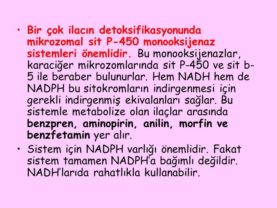 Bir çok ilacın detoksifikasyonunda mikrozomal sit P-450 monooksijenaz sistemleri önemlidir. Bu monooksijenazlar, karaciğer mikrozomlarında sit P-450 ve sit b-5 ile beraber bulunurlar. Hem NADH hem de NADPH bu sitokromların indirgenmesi için gerekli indirgenmiş ekivalanları sağlar. Bu sistemle metabolize olan ilaçlar arasında benzpren, aminopirin, anilin, morfin ve benzfetamin yer alır.