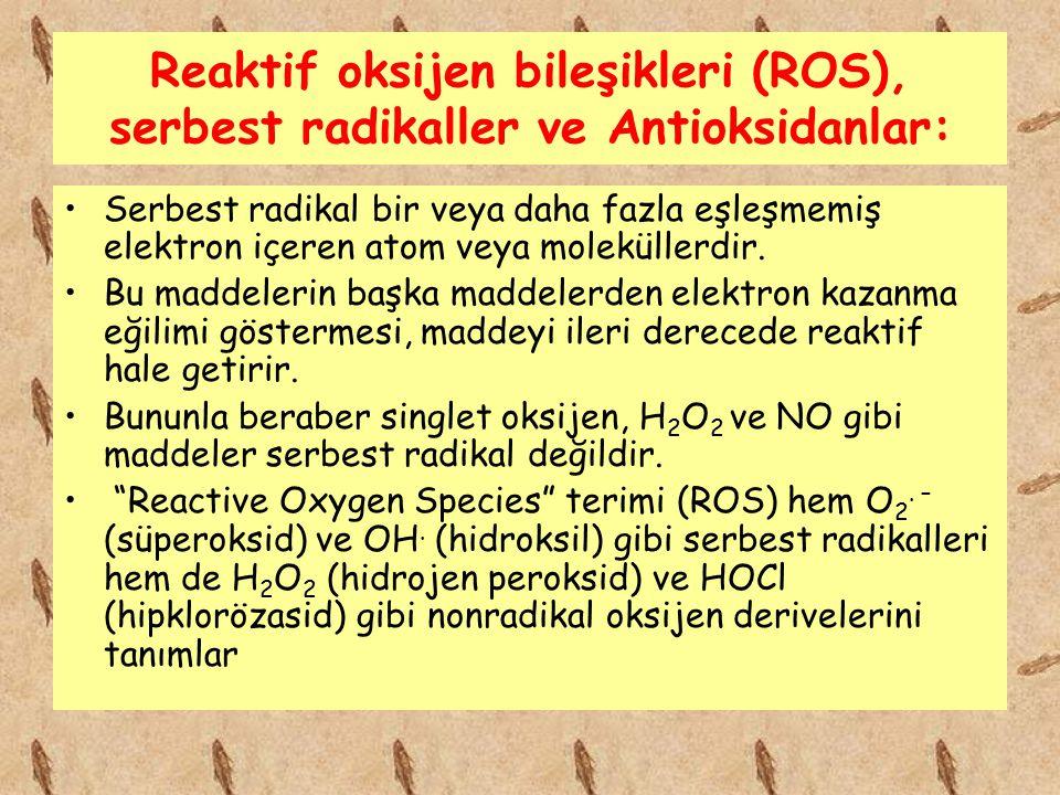 Reaktif oksijen bileşikleri (ROS), serbest radikaller ve Antioksidanlar: