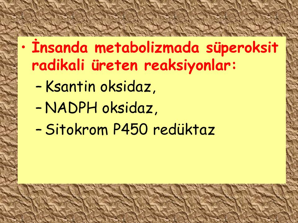 İnsanda metabolizmada süperoksit radikali üreten reaksiyonlar: