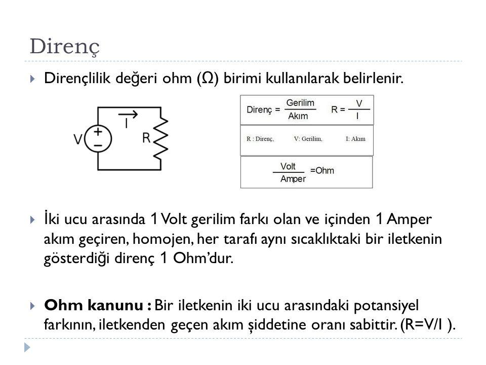 Direnç Dirençlilik değeri ohm (Ω) birimi kullanılarak belirlenir.