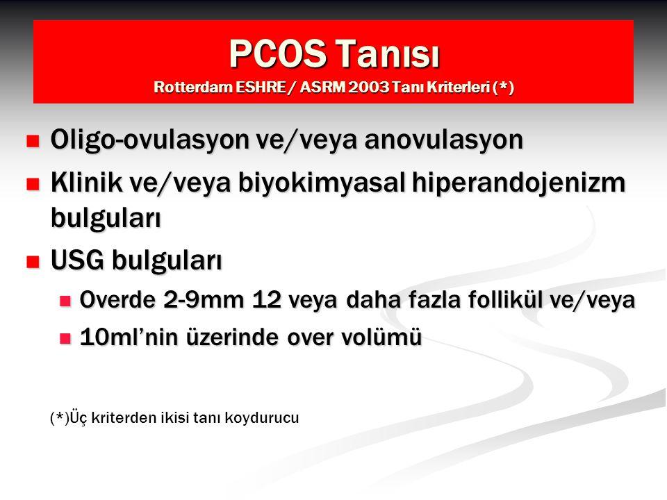 PCOS Tanısı Rotterdam ESHRE / ASRM 2003 Tanı Kriterleri (*)