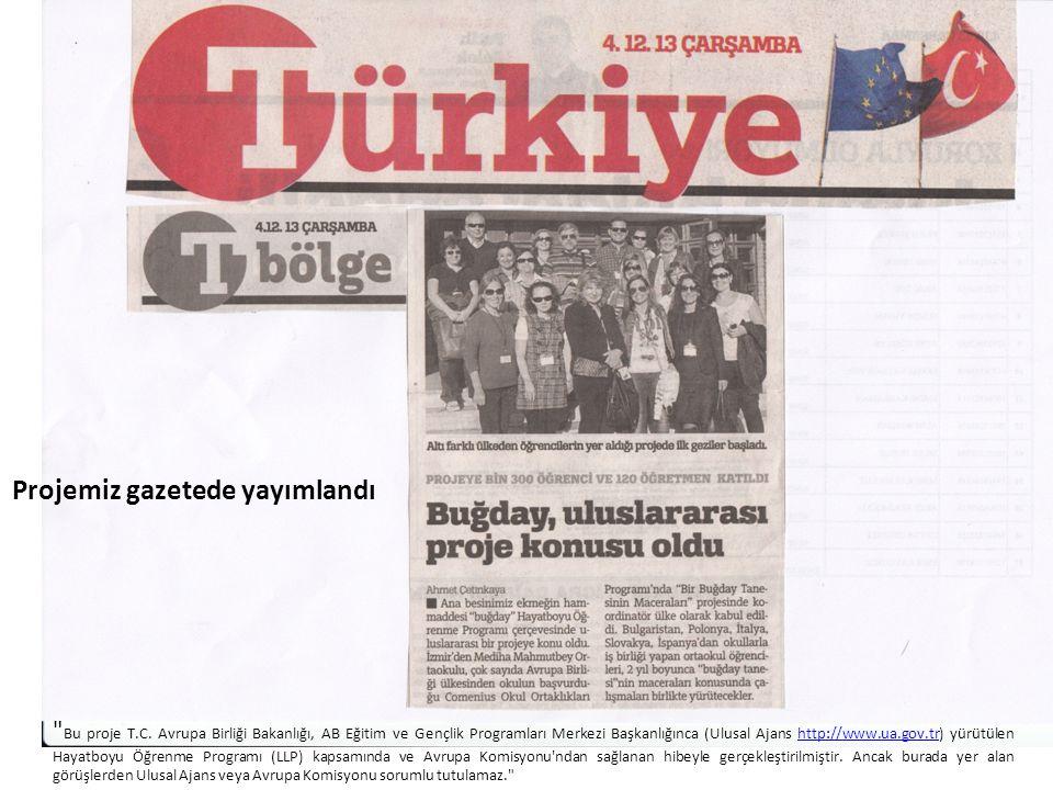 Projemiz gazetede yayımlandı