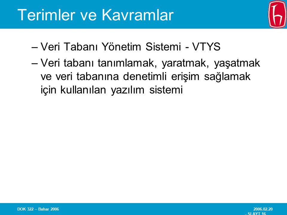 Terimler ve Kavramlar Veri Tabanı Yönetim Sistemi - VTYS