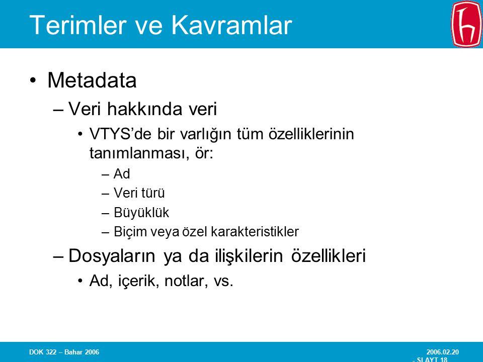 Terimler ve Kavramlar Metadata Veri hakkında veri