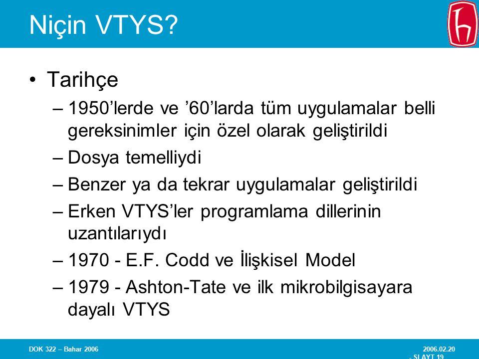 Niçin VTYS Tarihçe. 1950'lerde ve '60'larda tüm uygulamalar belli gereksinimler için özel olarak geliştirildi.