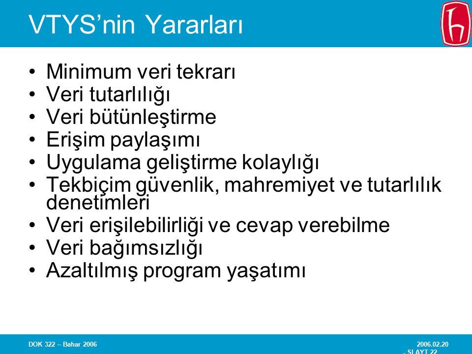 VTYS'nin Yararları Minimum veri tekrarı Veri tutarlılığı
