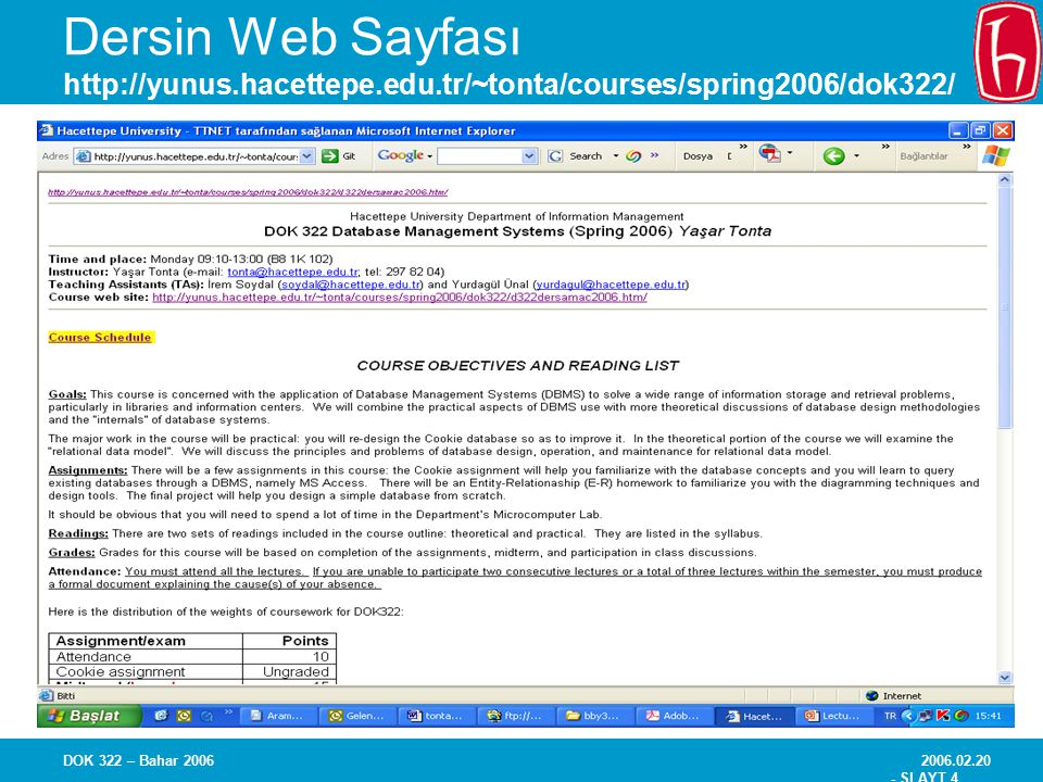 Dersin Web Sayfası http://yunus. hacettepe. edu