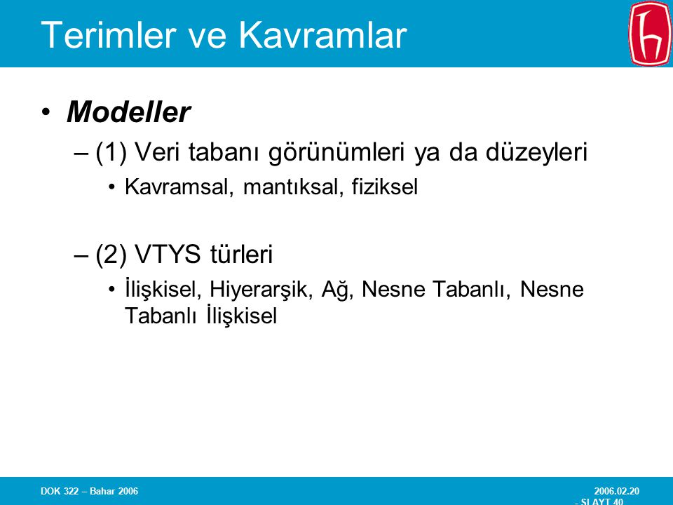 Terimler ve Kavramlar Modeller