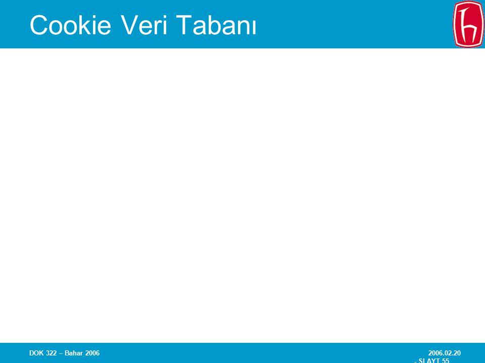 Cookie Veri Tabanı DOK 322 – Bahar 2006