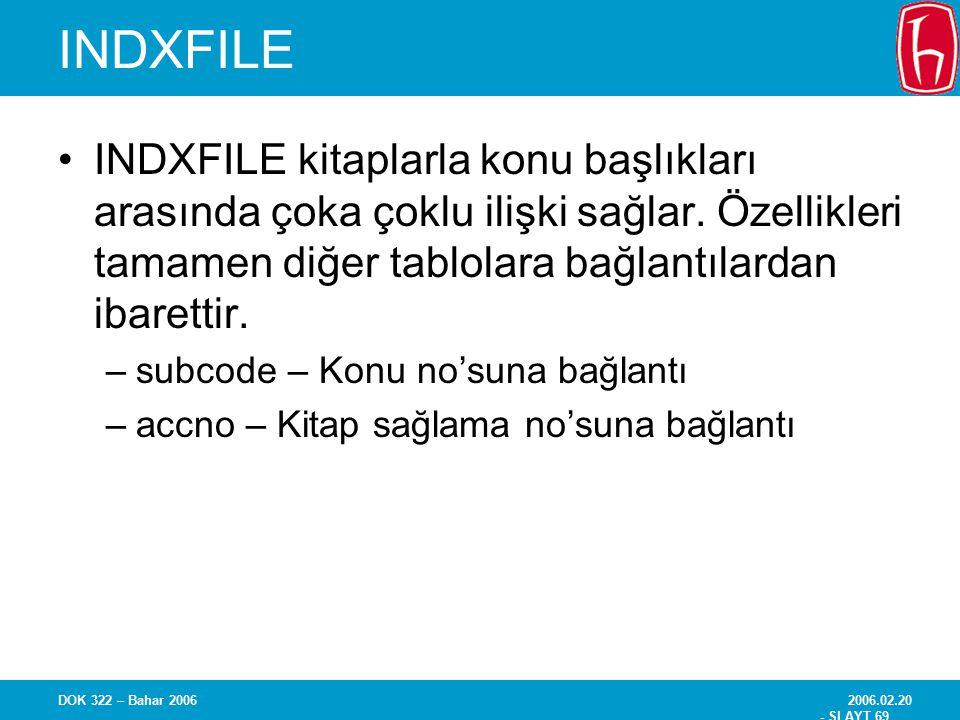 INDXFILE INDXFILE kitaplarla konu başlıkları arasında çoka çoklu ilişki sağlar. Özellikleri tamamen diğer tablolara bağlantılardan ibarettir.