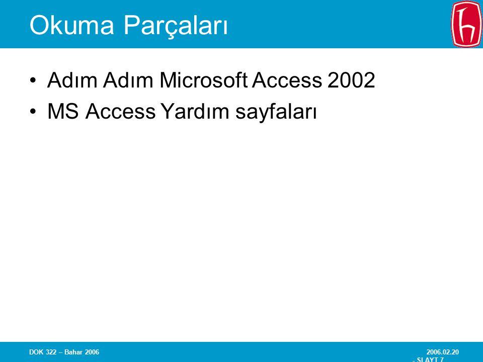 Okuma Parçaları Adım Adım Microsoft Access 2002