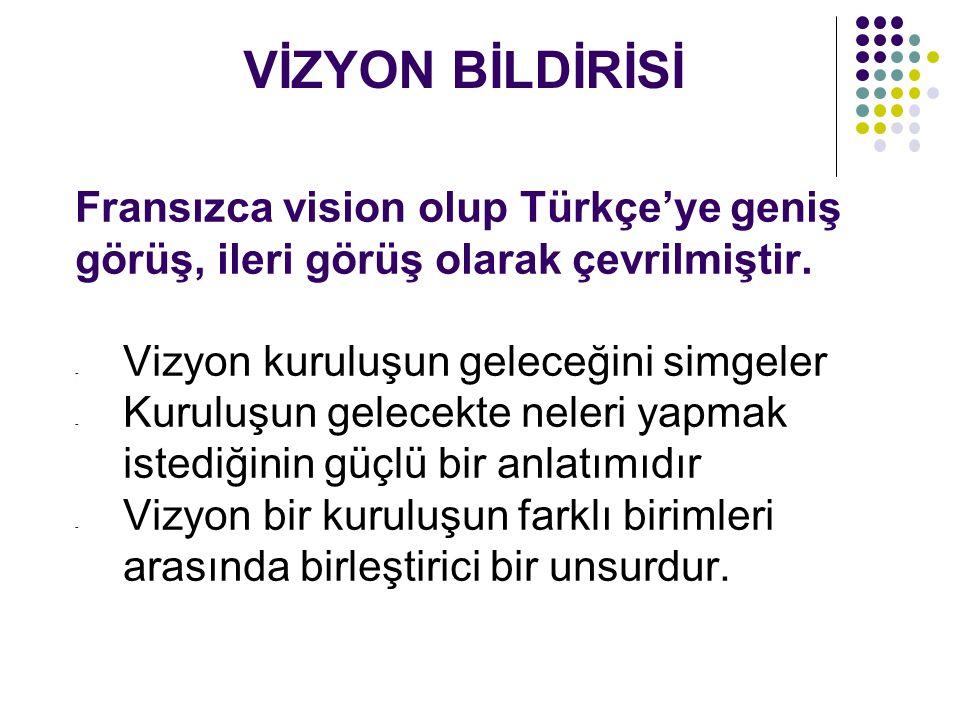 VİZYON BİLDİRİSİ Fransızca vision olup Türkçe'ye geniş görüş, ileri görüş olarak çevrilmiştir. Vizyon kuruluşun geleceğini simgeler.