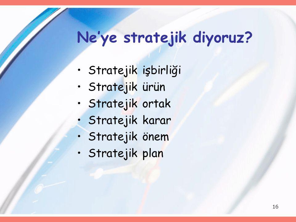 Ne'ye stratejik diyoruz