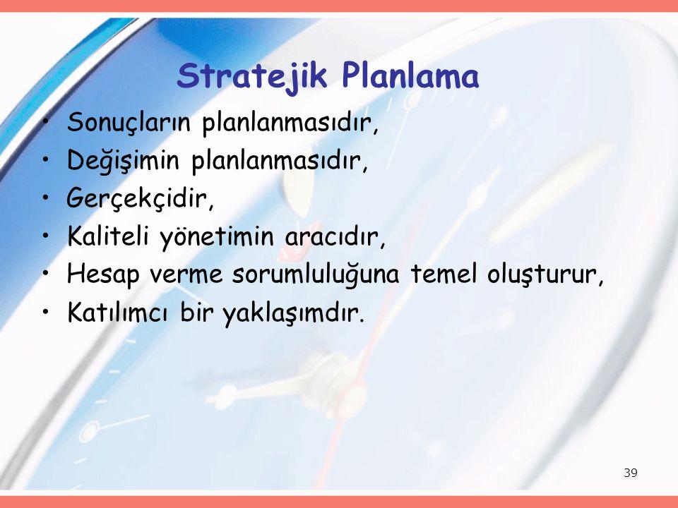 Stratejik Planlama Sonuçların planlanmasıdır,