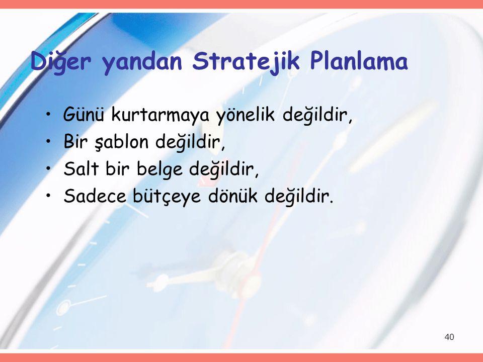 Diğer yandan Stratejik Planlama