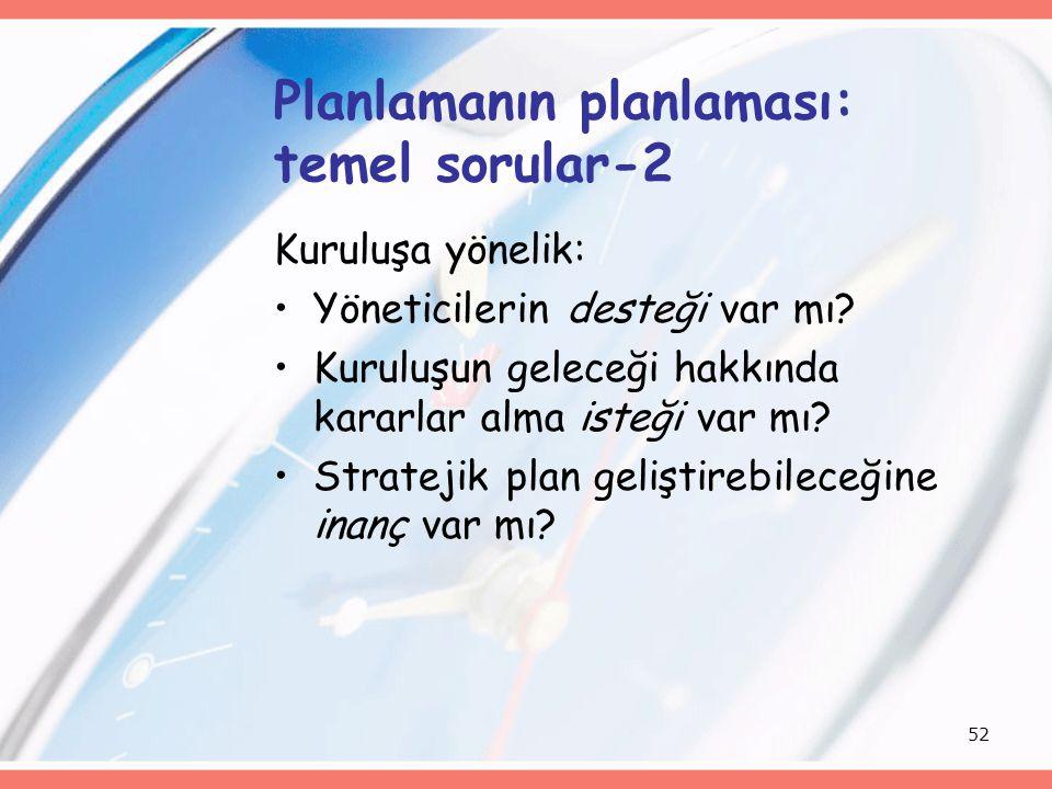 Planlamanın planlaması: temel sorular-2