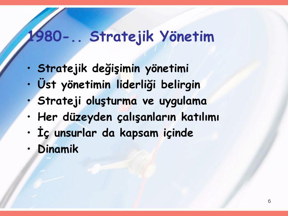 1980-.. Stratejik Yönetim Stratejik değişimin yönetimi