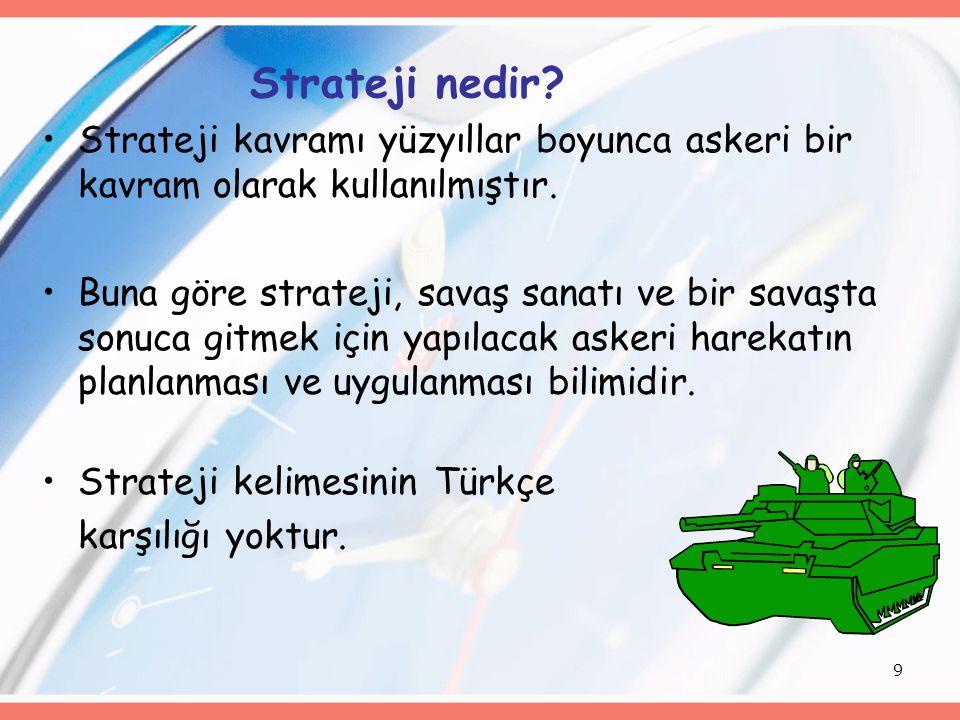 Strateji nedir Strateji kavramı yüzyıllar boyunca askeri bir kavram olarak kullanılmıştır.