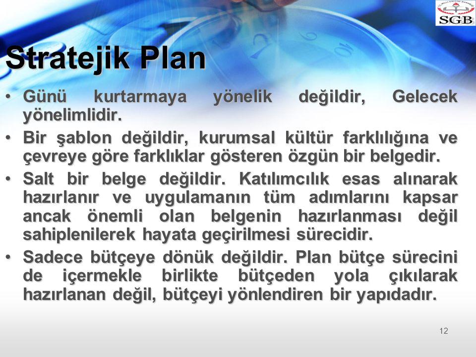 Stratejik Plan Günü kurtarmaya yönelik değildir, Gelecek yönelimlidir.