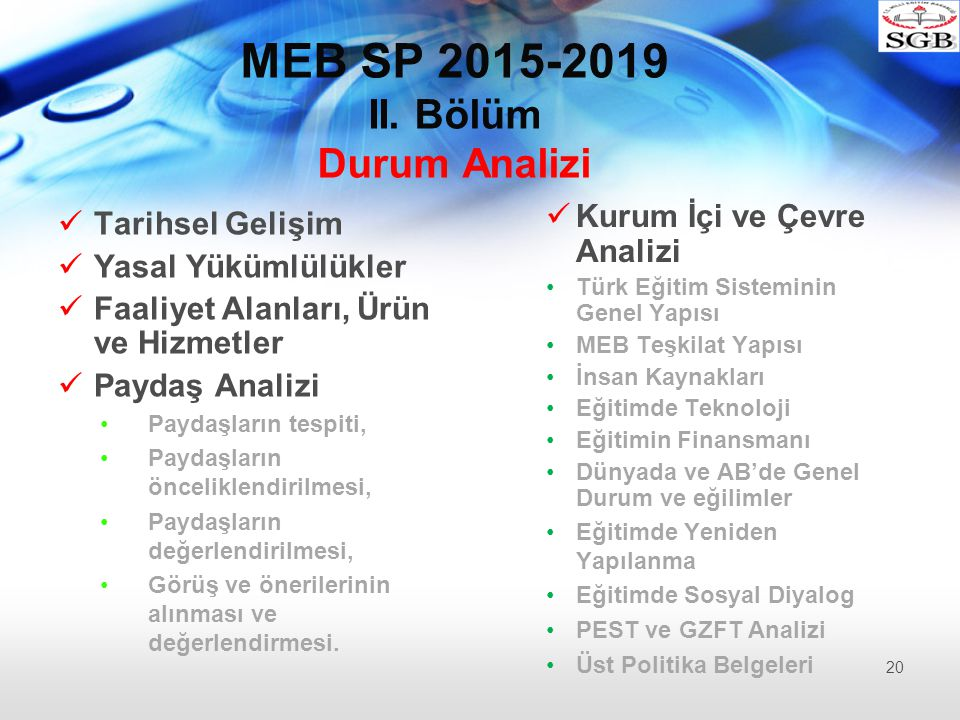 MEB SP 2015-2019 II. Bölüm Durum Analizi