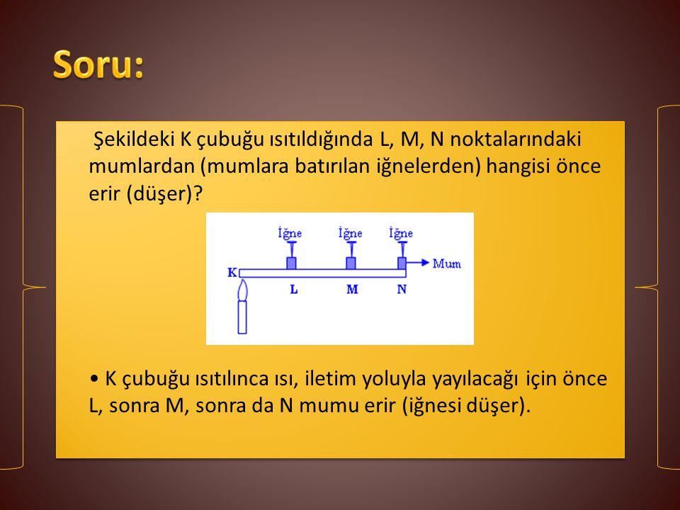 Soru: Şekildeki K çubuğu ısıtıldığında L, M, N noktalarındaki mumlardan (mumlara batırılan iğnelerden) hangisi önce erir (düşer)