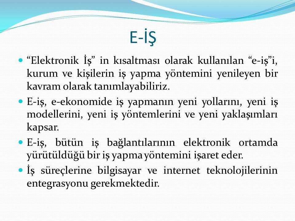 E-İŞ Elektronik İş in kısaltması olarak kullanılan e-iş i, kurum ve kişilerin iş yapma yöntemini yenileyen bir kavram olarak tanımlayabiliriz.
