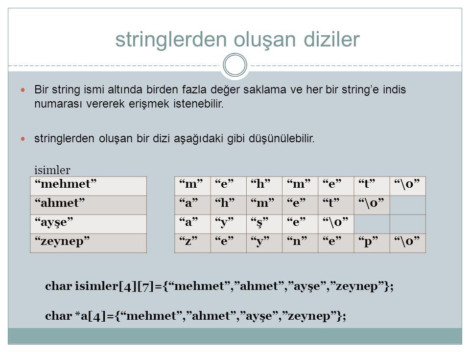 stringlerden oluşan diziler