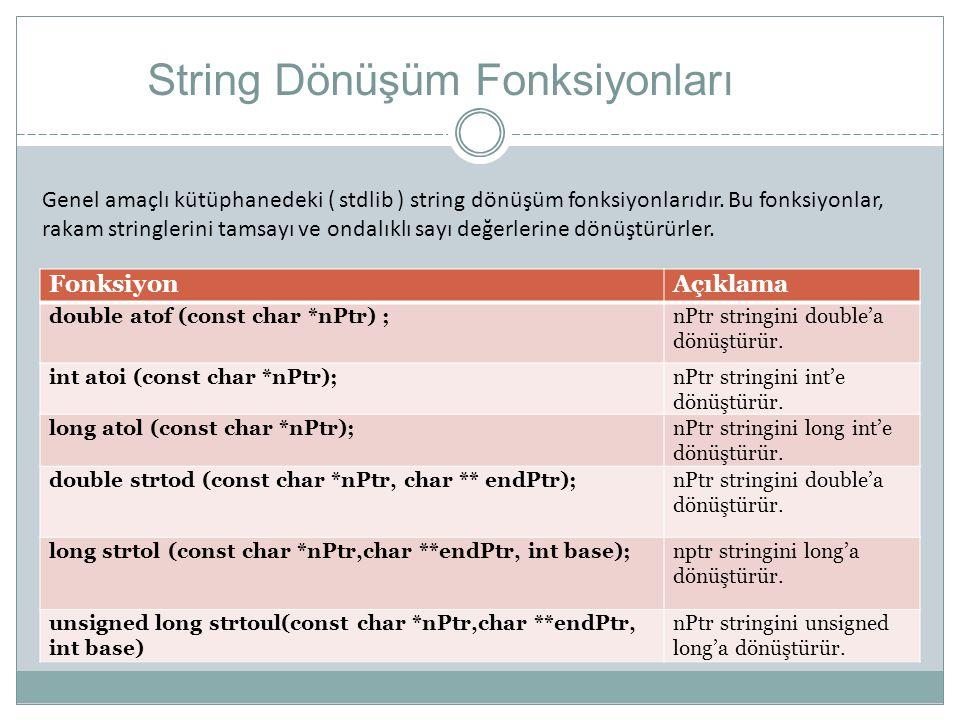 String Dönüşüm Fonksiyonları