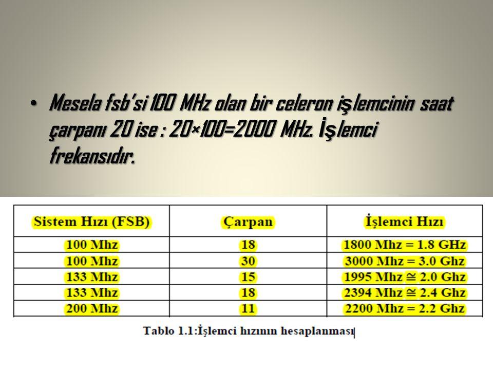 Mesela fsb'si 100 MHz olan bir celeron işlemcinin saat çarpanı 20 ise : 20×100=2000 MHz.