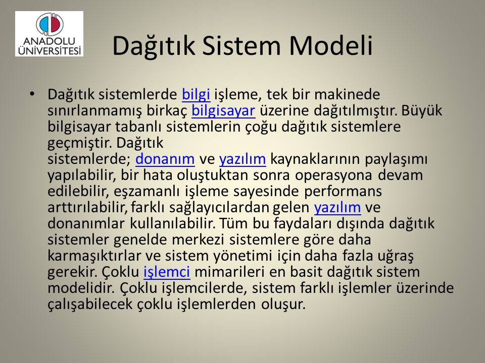 Dağıtık Sistem Modeli