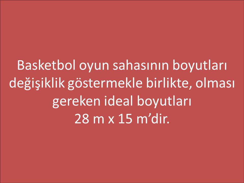 Basketbol oyun sahasının boyutları değişiklik göstermekle birlikte, olması gereken ideal boyutları 28 m x 15 m'dir.
