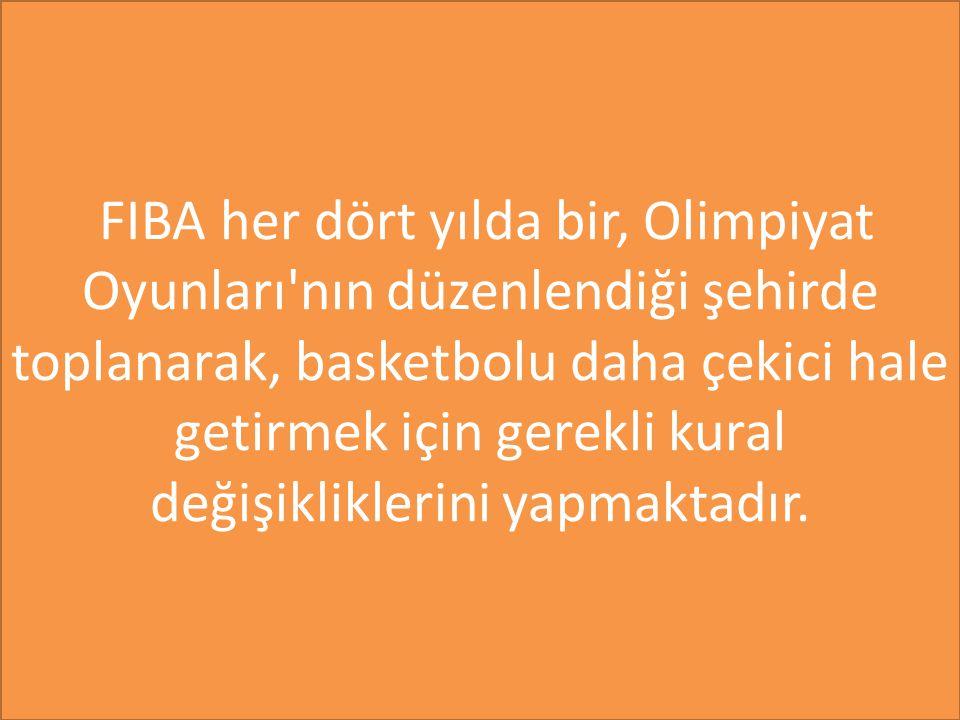 FIBA her dört yılda bir, Olimpiyat Oyunları nın düzenlendiği şehirde toplanarak, basketbolu daha çekici hale getirmek için gerekli kural değişikliklerini yapmaktadır.