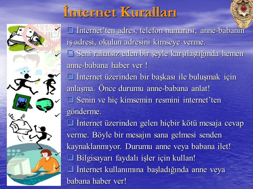 İnternet Kuralları İnternet'ten adres, telefon numarası, anne-babanın iş adresi, okulun adresini kimseye verme.