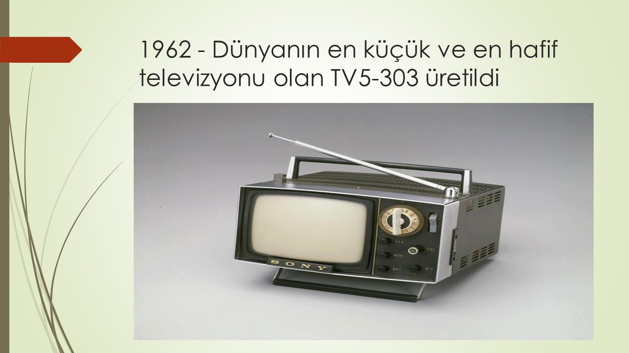1962 - Dünyanın en küçük ve en hafif televizyonu olan TV5-303 üretildi