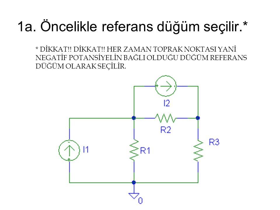 1a. Öncelikle referans düğüm seçilir.*