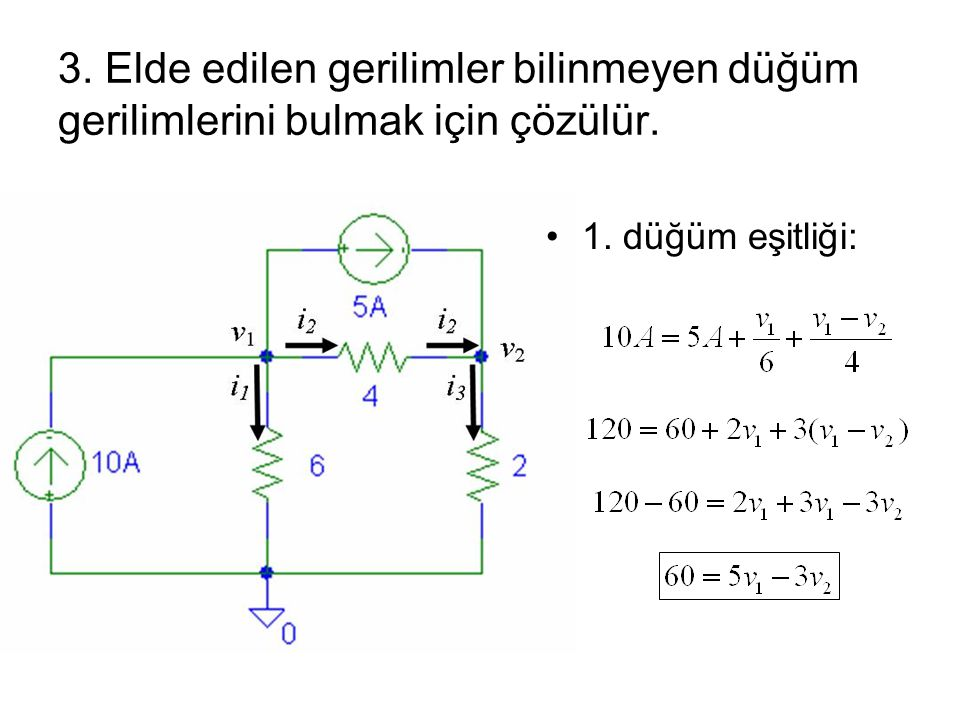 3. Elde edilen gerilimler bilinmeyen düğüm gerilimlerini bulmak için çözülür.