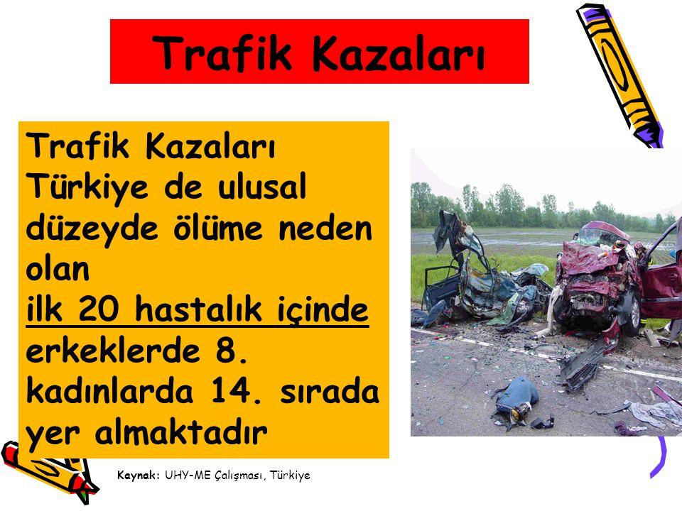 Trafik Kazaları Trafik Kazaları Türkiye de ulusal düzeyde ölüme neden olan. ilk 20 hastalık içinde.