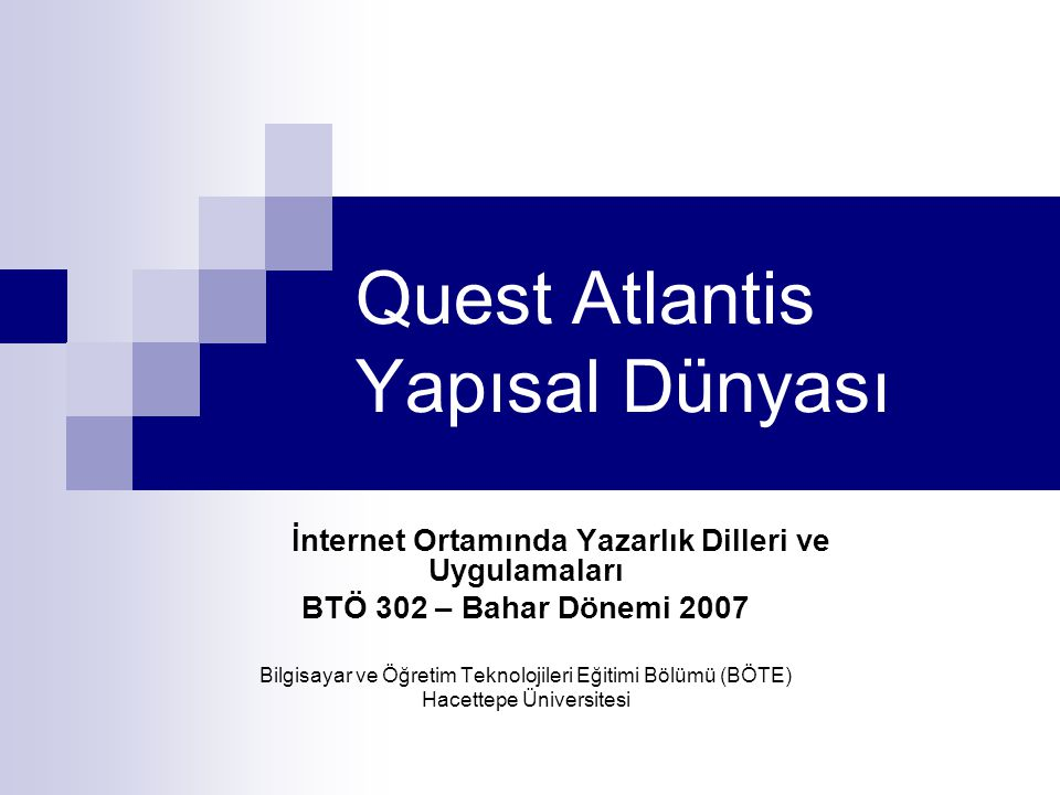 Quest Atlantis Yapısal Dünyası